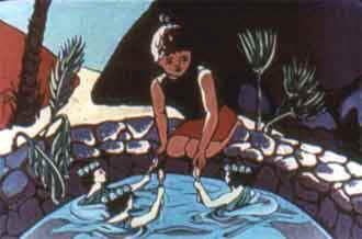 Подплыли к Ананси и три блестящие ложки ей протягивают.