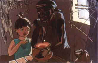 негритянка вытряхнула из мешка всего одно рисовое зернышко