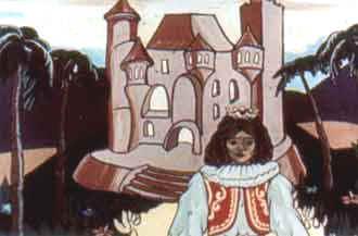 Дворец стоит на холме, и выходит из него к ней навстречу принц.