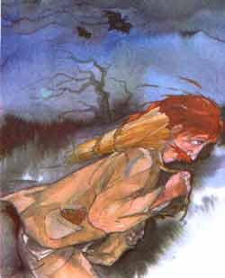 Теперь ему пришлось пробираться вперед на ощупь, под завывание ветра и уханье филина