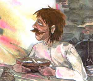 Гуменщик взял ложку, сел за стол и принялся есть горячую похлебку.