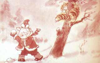 Кошка с перепугу на дерево залезла