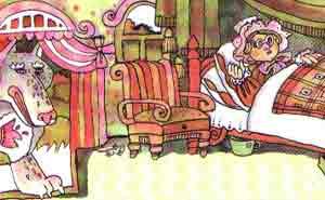 Закрыл дверь, улегся на бабушкину постель и стал ждать Красную Шапочку