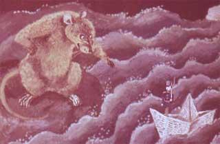 В эту минуту из-под моста выскочила большая водяная крыса.