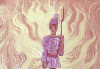 Но и в огне он держался прямо, крепко сжимал свое ружье