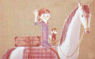А почему это у тебя на веранде лошадь? - спросил Томми