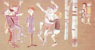 И все пятеро мальчишек, окружив Пеппи, стали прыгать и кричать