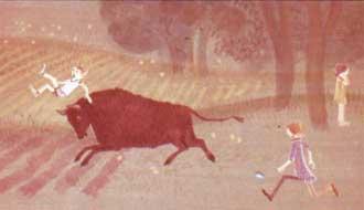 Но бык уже успел поддеть Томми на рога и подбросил его высоко в воздух.