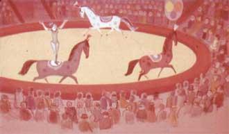 Директор цирка щелкнул хлыстом, и лошади стали бегать вокруг арены