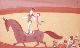 И вот Пеппи уже стоит на спине лошади, позади мисс Карменситы.