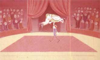 Пеппи высоко подняла его вверх и понесла на вытянутых руках вокруг арены.