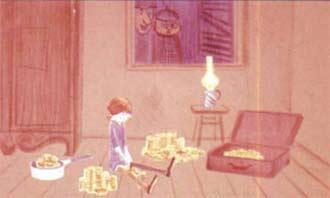 В тот самый вечер Пеппи вывалила все свои золотые монеты из чемодана на пол кухни и пересчитывала их.