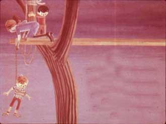 Потом она крепко привязала одного из мальчиков к другому концу каната и медленно и осторожно стала спускать его к обезумевшей от счастья маме