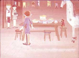 Пир по случаю дня рождения Пеппи решила устроить в кухне, потому что там было уютнее всего.