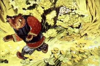 Прикрыл их куст ветками - медведь и пробежал мимо.