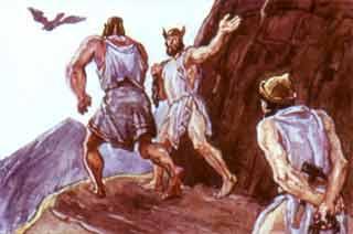 Сюда-то, на край земли, привели слуги Зевса скованного титана Прометея