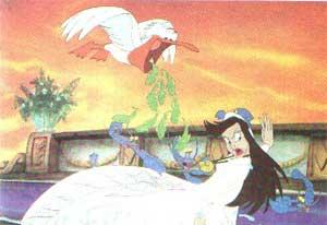 Все вместе они налетели на ведьму, клевали ее, тянули, дергали за платье и волосы.