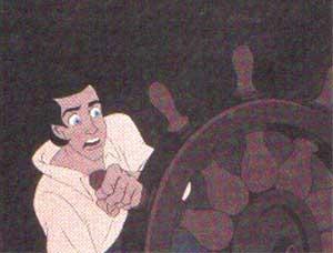 Подбежав к штурвалу, Эрик повернул корабль и бесстрашно направил его прямо на ведьму