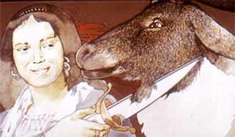 С этими словами маленькая разбойница вытащила из расщелины в стене длинный нож и провела им по шее оленя.