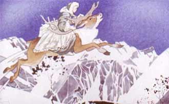потом привязала девочку к спине оленя, и тот снова помчался...