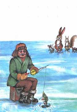 Он весело вытащил рыбу из-подо льда наверх.