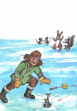 Рыбка сумела отцепиться с крючка и быстро нырнула обратно под лед