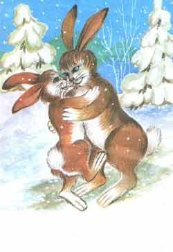 Маленький зайчишка крепко обнял лапками мамину шею