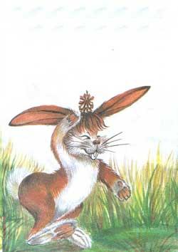 « Не бросать !» – крикнул зайчишка испуганно.