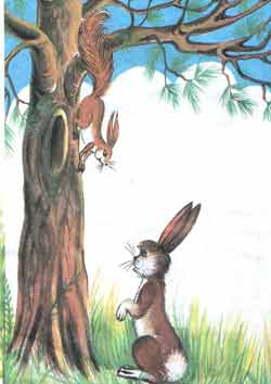 Тогда белочка ловко спустилась вниз по дереву прямо к Пушишке.