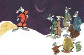 Приходит он к одному крестьянину на гумно, а тут уж стадо зайцев.