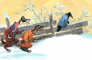 Собаки увидели зайца, бросили ворону