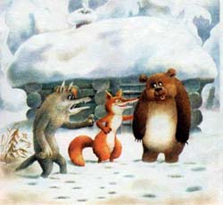 Лиса привела их к избушке. Медведь говорит волку.