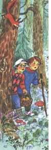 """Рисунок О.Воронова к сказке В. Сутеева""""чей это гриб"""""""