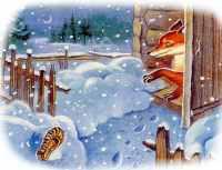 Положил хозяин лапоть в курятник, а лисонька ночью встала и выбросила свой лапоть в окно.