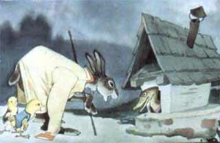 Повел заяц всех к ручью. А возле ручья утиный дом стоит и челнок рядом привязан.