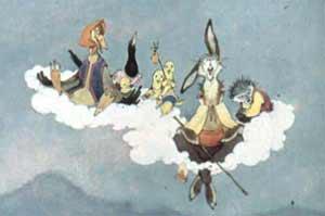 алезли на облако цыплята,