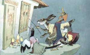 Тут сорока затрещала, цыплята запищали, утка закрякала, заяц ушами захлопал, а еж палочкой застучал